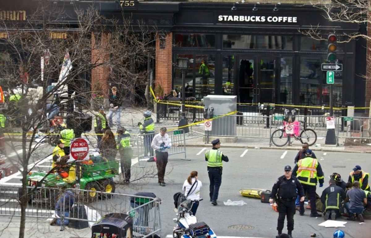 The scene at the 2013 Boston Marathon bombing. (Photo: Rebecca Hildreth/Flickr)