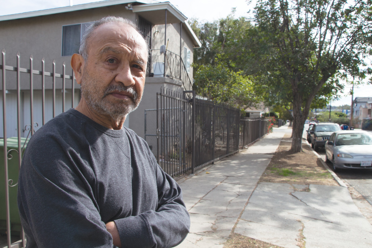 AT HOME: Simon Tejada near his Glassell Park house in Los Angeles. (Photo: Sam Quinones)