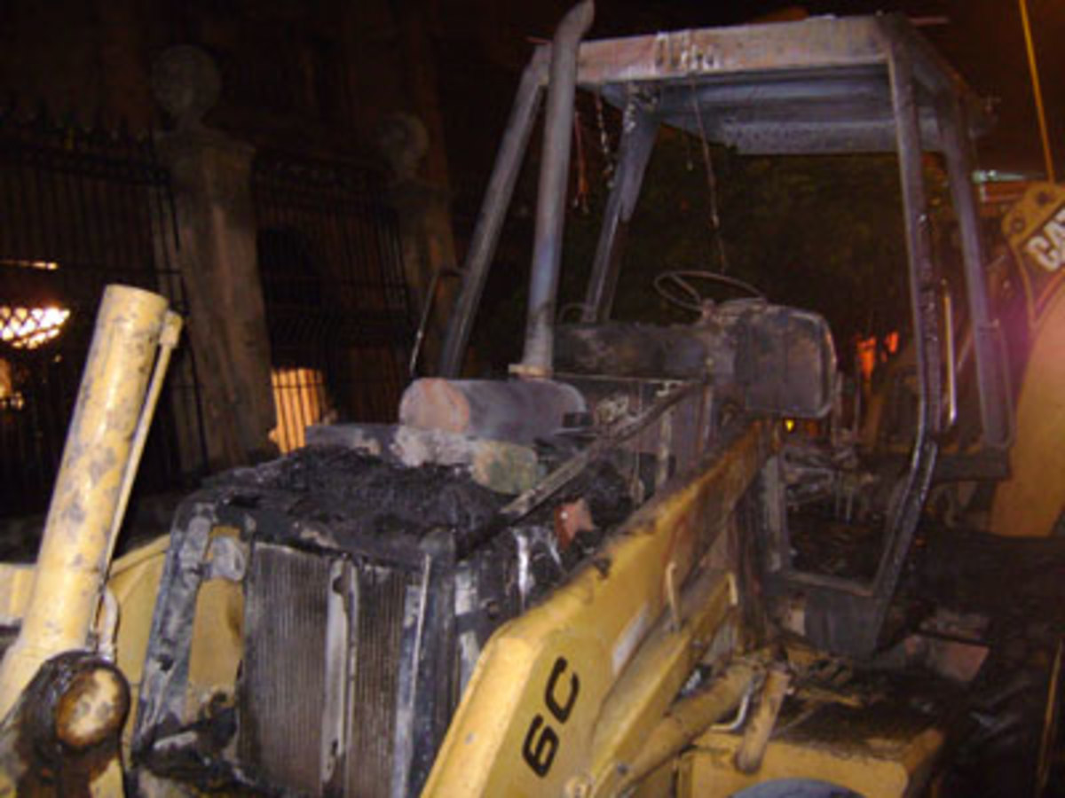 On March 23, 2009, the Earth Liberation Front claimed the burning of a backhoe in Guadalajara, Jalisco, Mexico. (Photo: Public Domain)