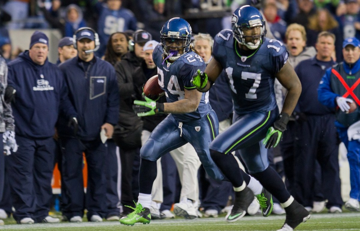 Lynch during the Seahawks' 2011 NFC Wild Card game against the New Orleans Saints. (Photo: Kelly Bailey/Wikimedia Commons)