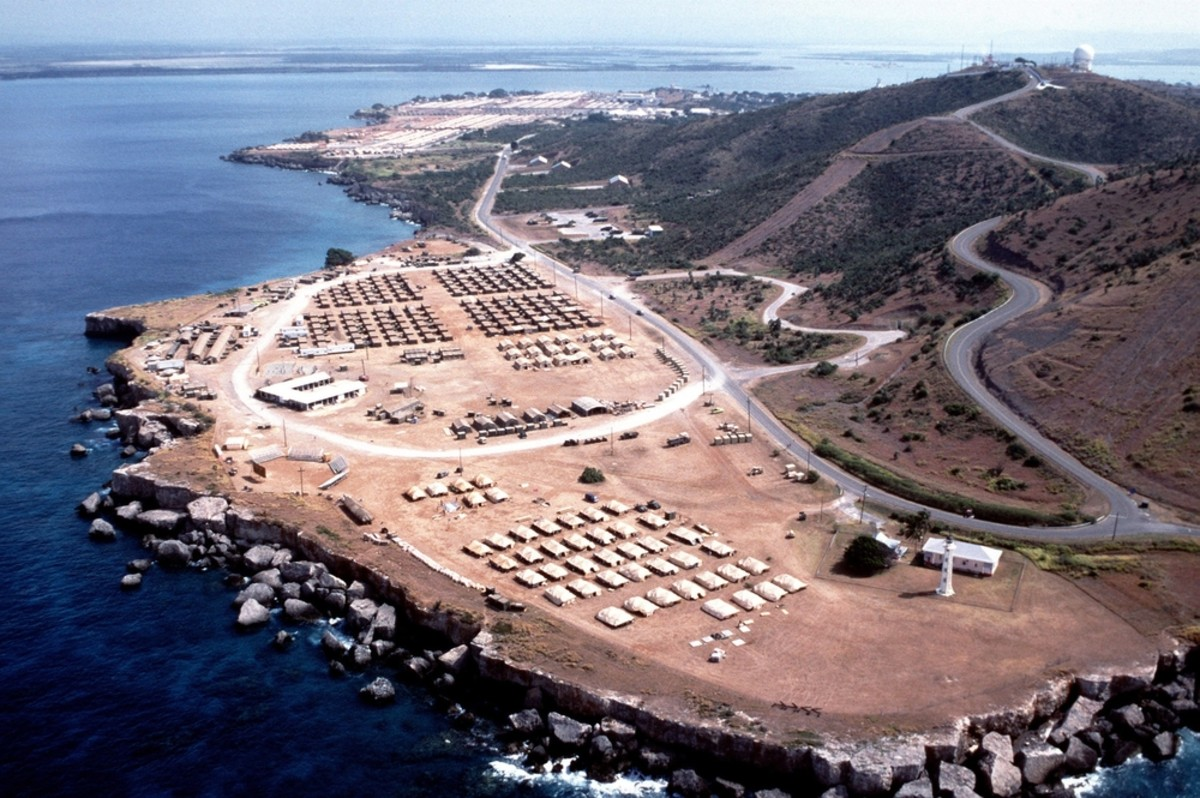 Aerial view of the U.S. Naval Station Guantanamo Bay Cuba. July 1, 1994. (Photo: Everett Historical/Shutterstock)