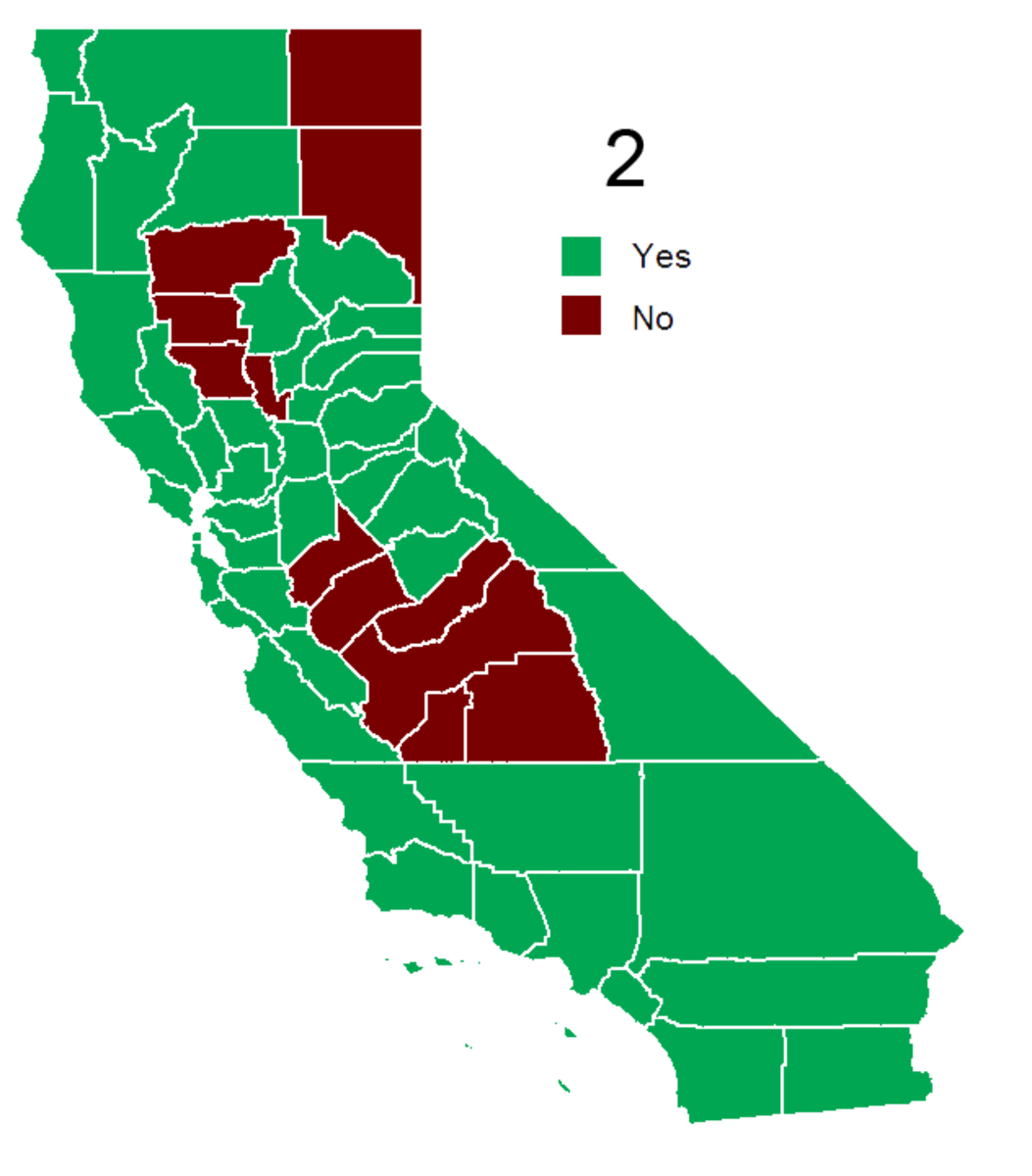 Prop 2 electoral results by county in California. (Photo: Wikimedia Commons)