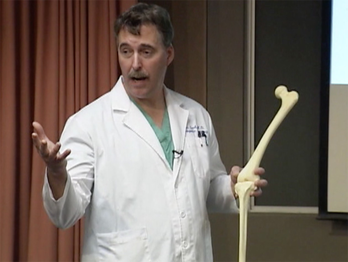 Surgeon Ronald Teed, shown in a screenshot taken from a  video of an informational presentation, describes the advantages of the  OtisKnee. (Photo: Tuality Healthcare)