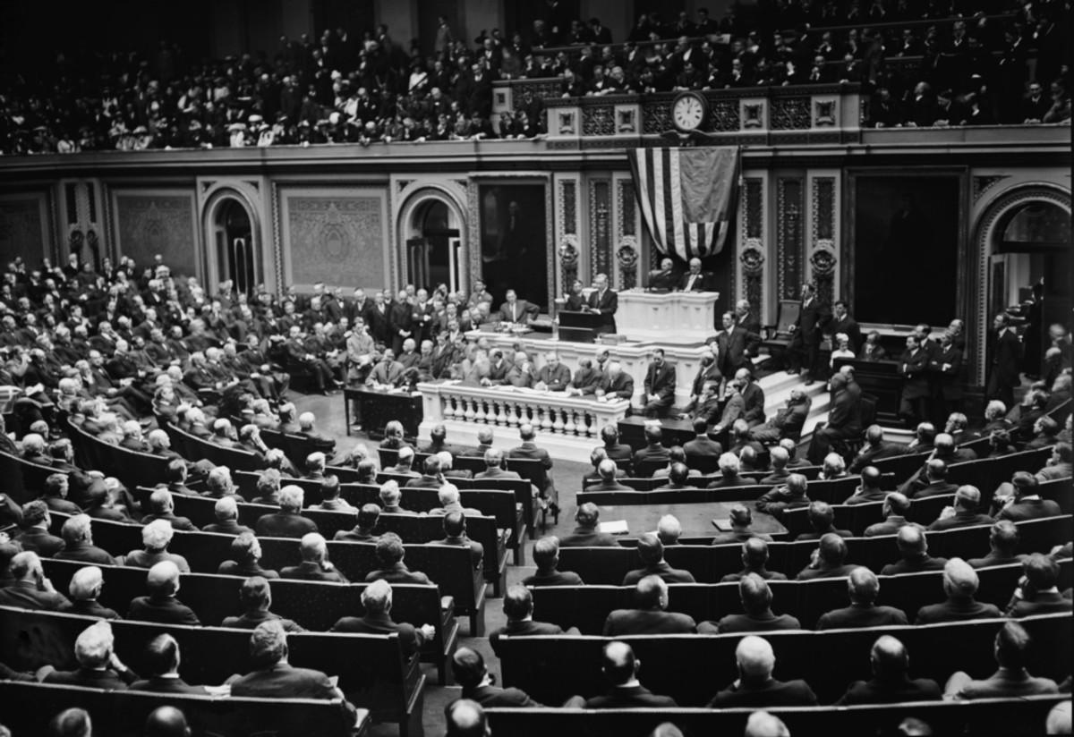 Woodrow Wilson addressing Congress in 1916. (Photo: Everett Historical/Shutterstock)