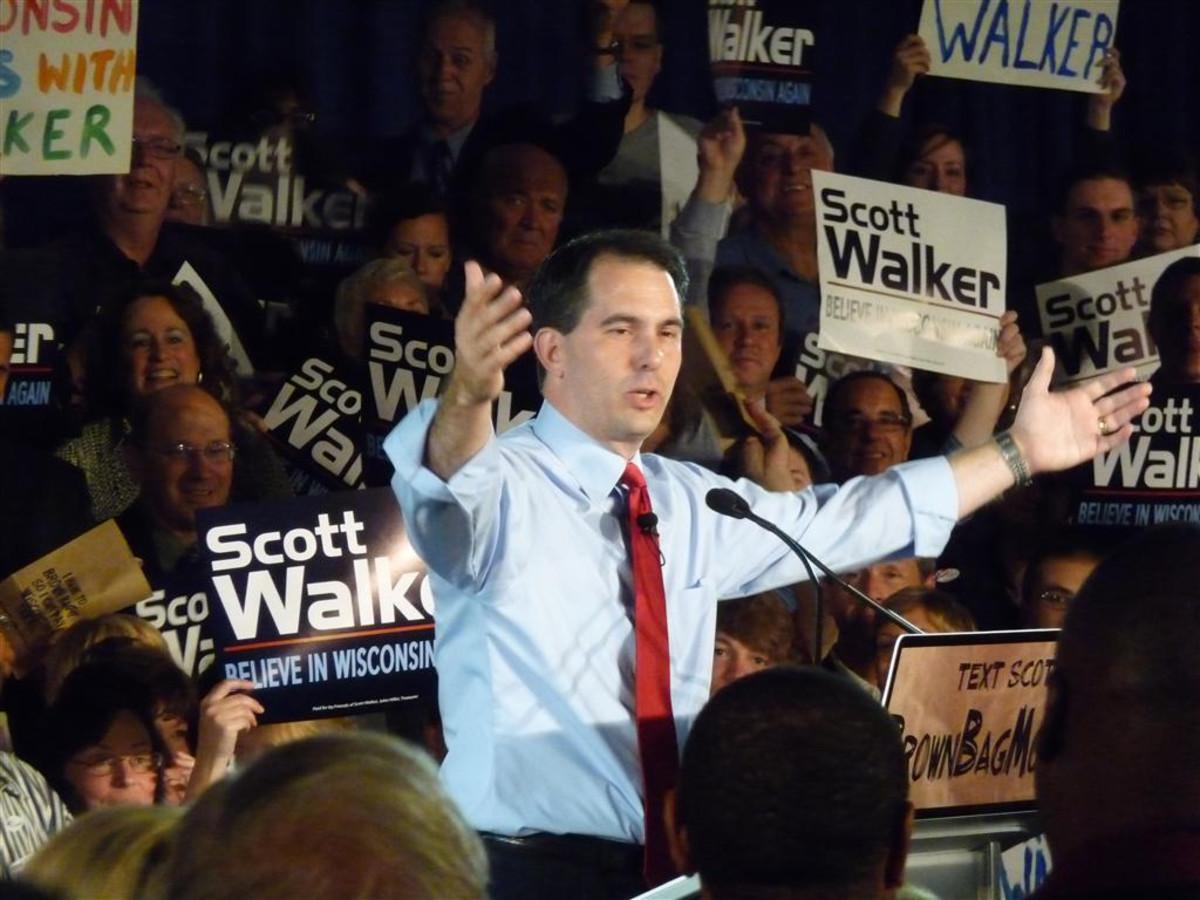 Scott Walker after winning the Wisconsin GOP gubernatorial primary in 2010. (Photo: WisPolitics.com/Wikimedia Commons)