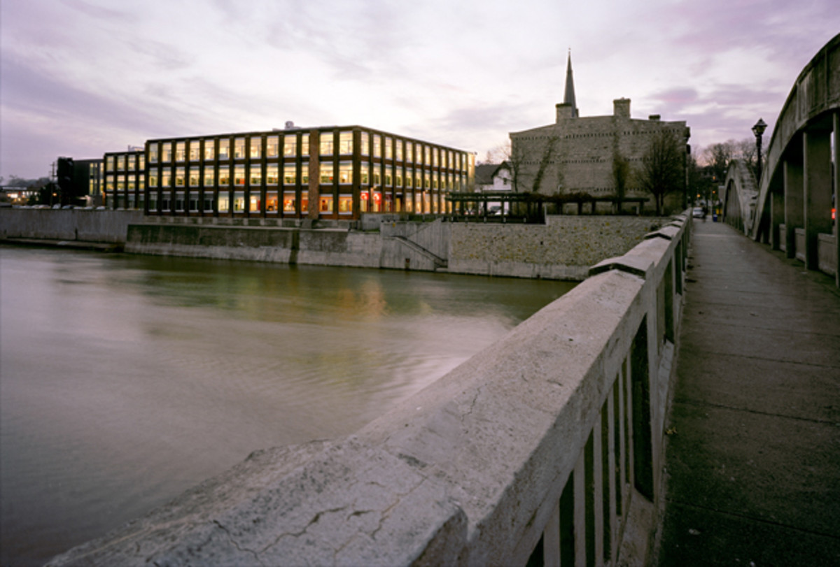 The School of Architecture at the University of Waterloo is located in Cambridge, Ontario, next to the Grand River. (Photo: Jamesandra/Wikimedia Commons)