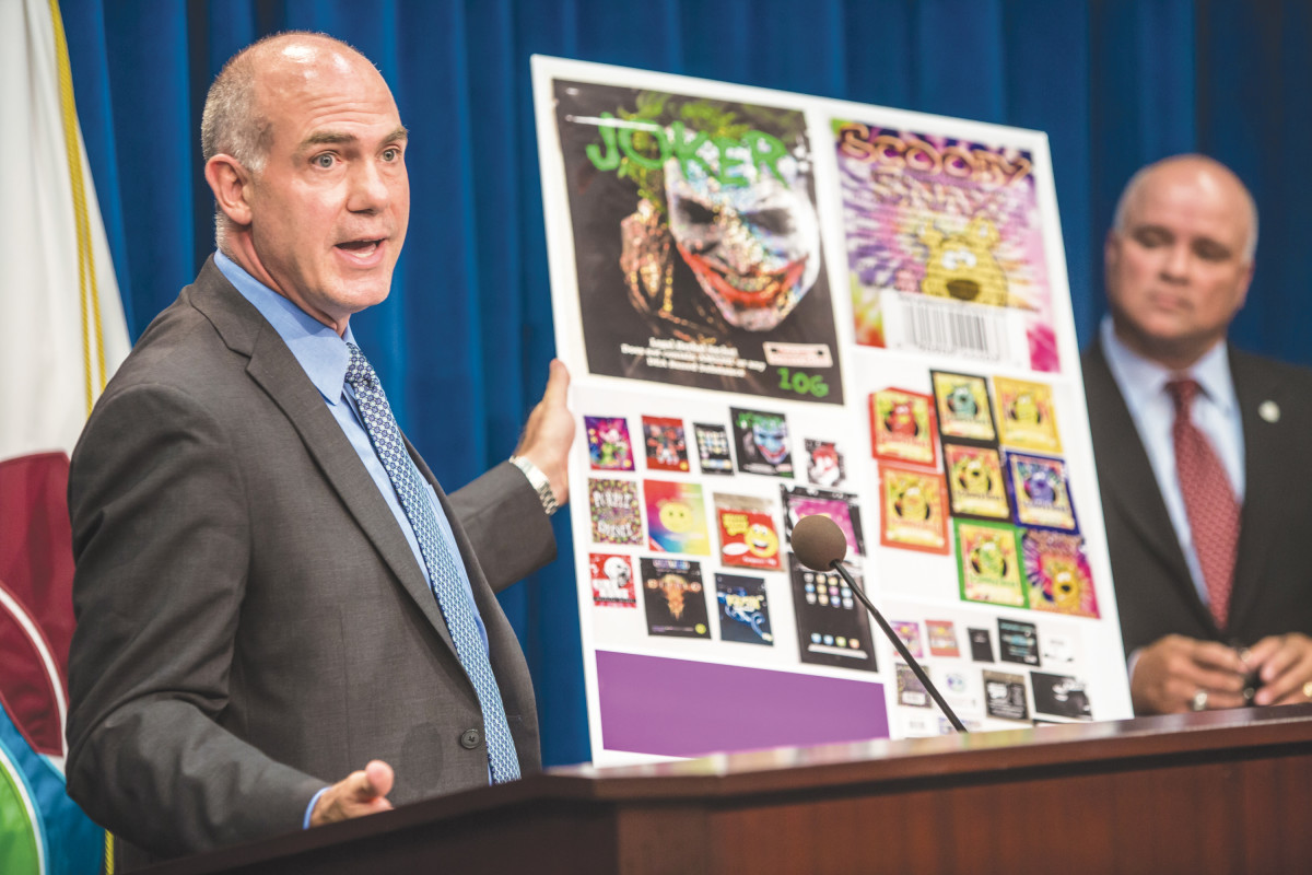 WHAC-A-MOLE: The U.S. Drug Enforcement Agency holds a press conference on the profusion of copycat synthetic drugs in 2013. (Photo: Brendan Hoffman/Getty Images)
