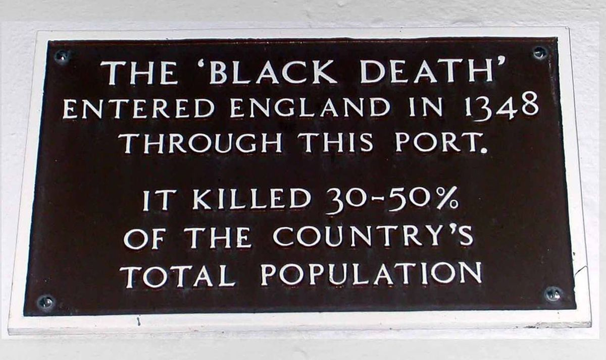 A plaque in Weymouth, England, noting the entrance of Black Death into the country. (Photo: Wilson44691/Wikimedia Commons)
