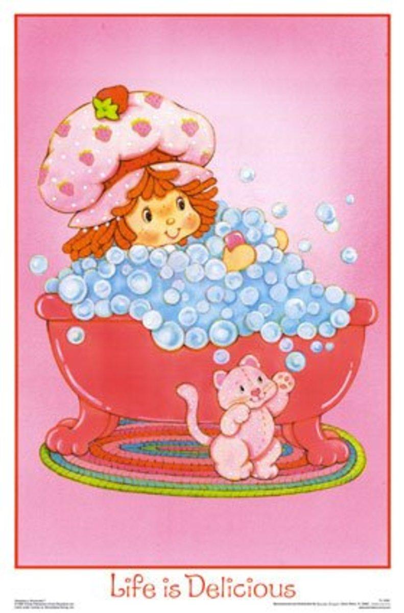 An original Strawberry Shortcake poster.