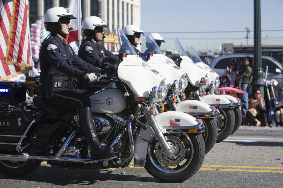 Los Angeles Police Department officers at the Chinese New Year Golden Dragon Parade. (Photo: Jose Gil/ Shutterstock)