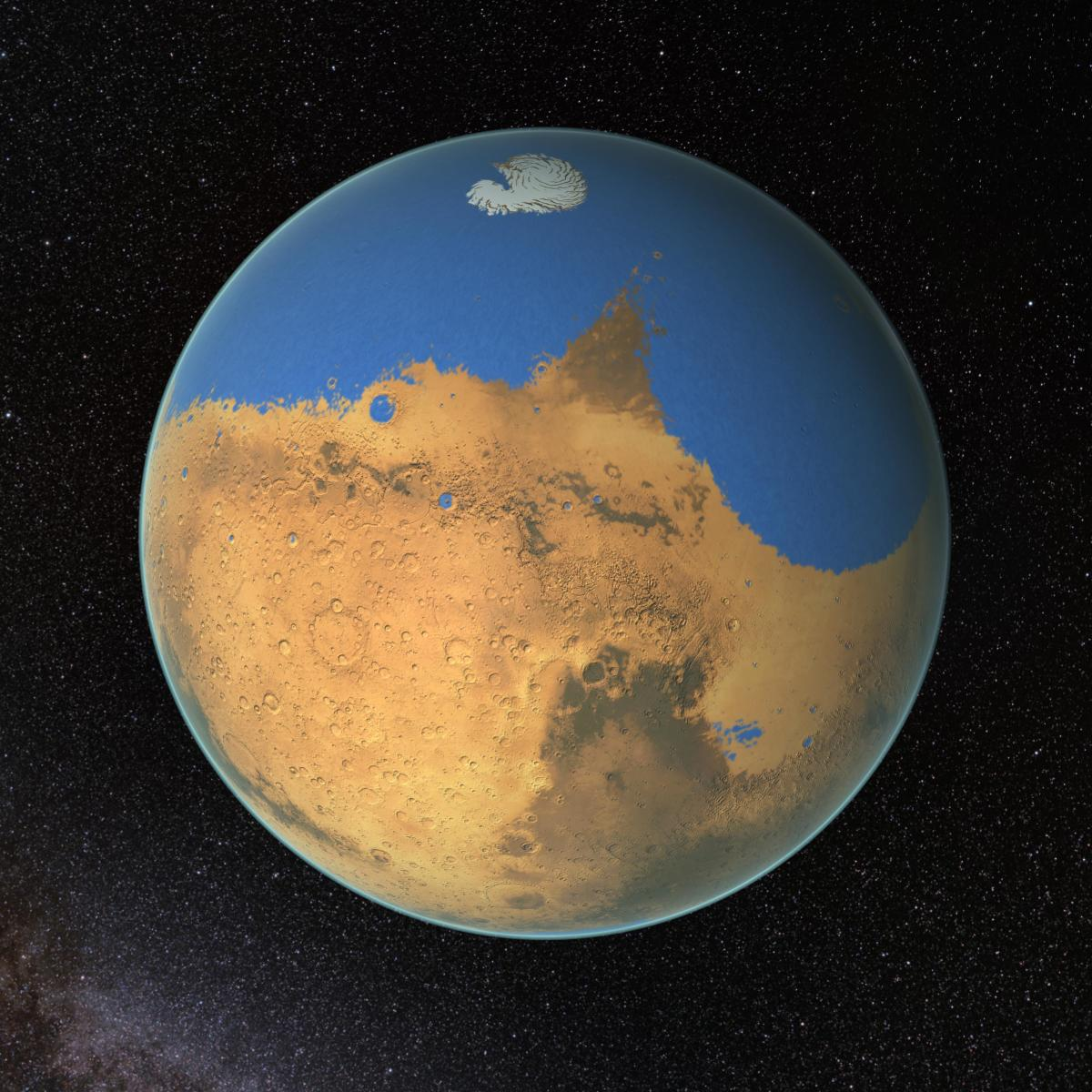 An artist's rendering of Mars four billion years ago. (Photo: NASA/GSFC)