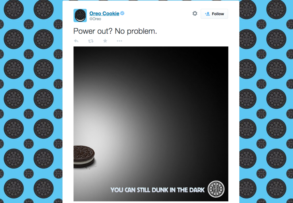 In 2013, Oreo tweeted a clever response to the power outage at Super Bowl XLVII. (Photo: Twitter)