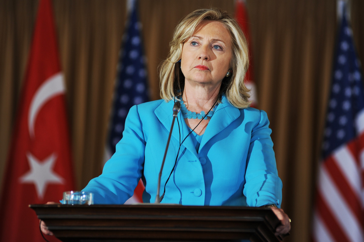 Hillary Clinton talks to the press after meeting  the Turkish Foreign Minister Ahmet Davutoglu on August 1, 2011, in  Istanbul, Turkey. (Photo: Fotografadam/Shutterstock)