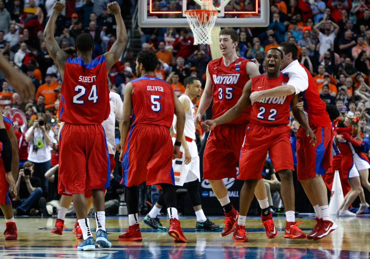 The University of Dayton Flyers celebrate their upset over the Syracuse Orange in last year's March Madness. (Photo: Chad Cooper/Flickr)