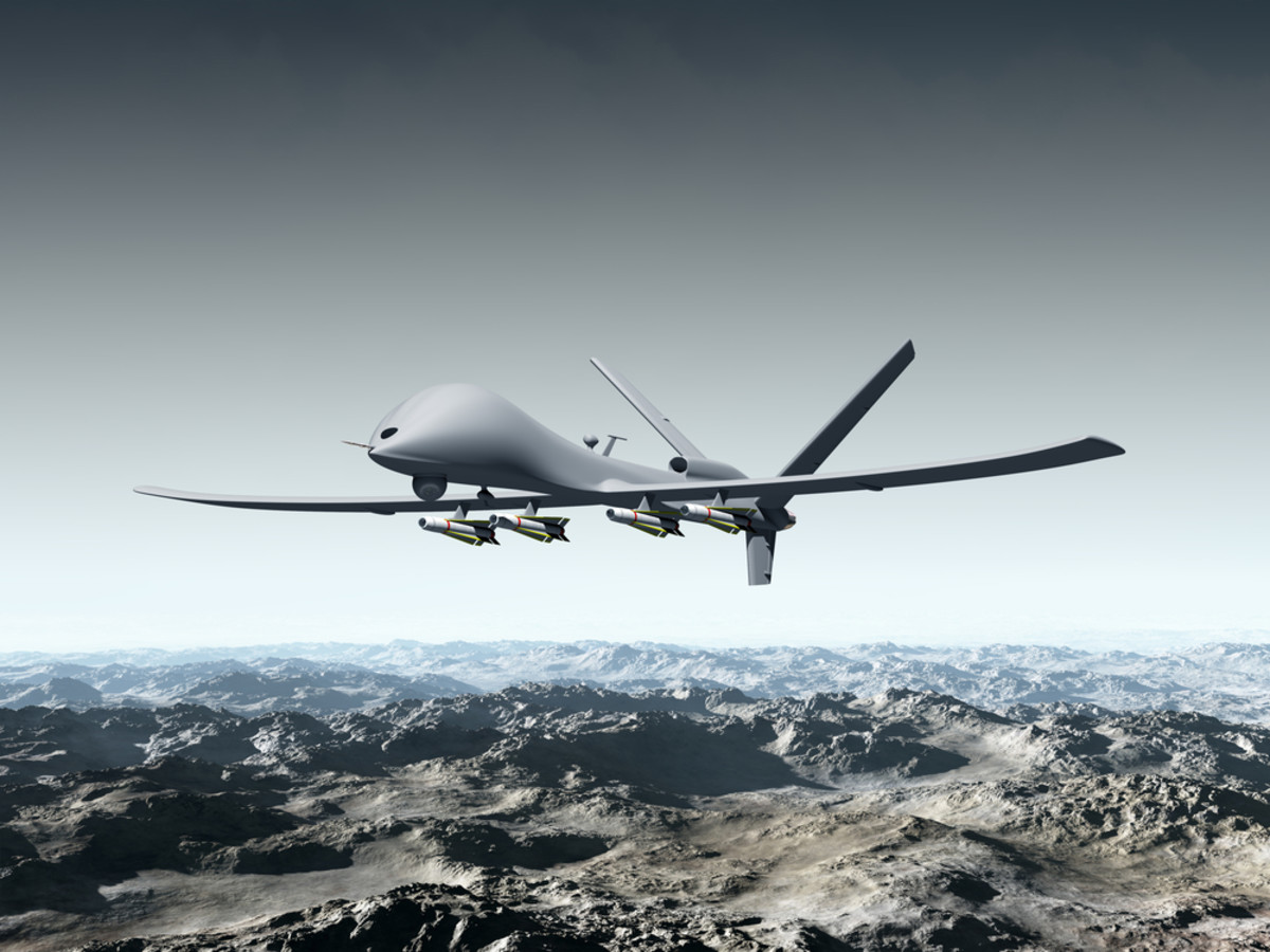 Illustration of a combat drone flying over barren mountains. (Illustration: Paul Fleet/Shutterstock)
