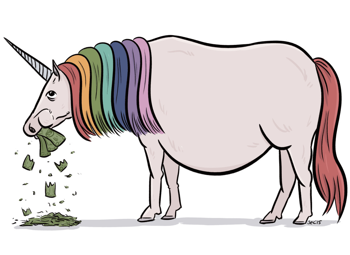 The venture capital-eating unicorn. (Illustration: Susie Cagle)