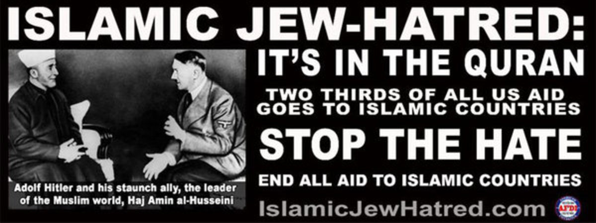 The ad features a photograph of a 1941 meeting between Adolf Hitler and Hajj Amin al-Husseini, a Palestinian Arab nationalist who made radio broadcasts supporting the Nazis. (Photo: American Freedom Defense Initiative)