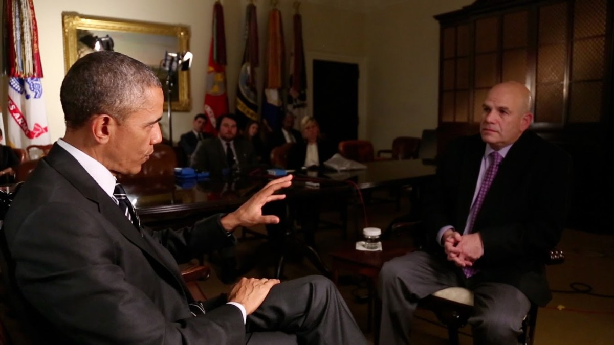 President Obama interviewing David Simon. (Photo: The White House/YouTube)