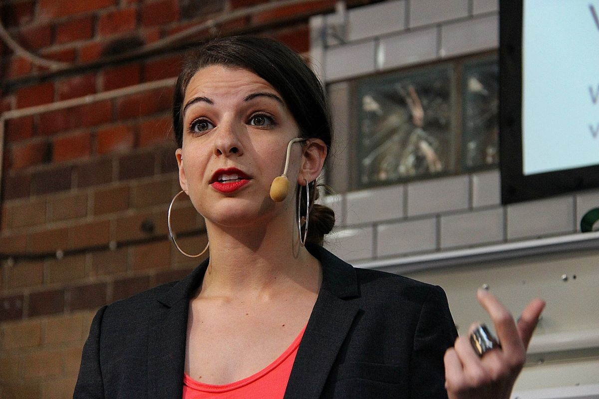 Anita Sarkeesian speaking at a conference in 2013. (Photo: Susanne Nilsson/Wikimedia Commons)