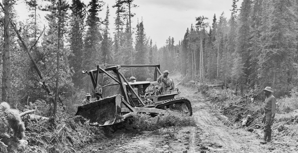 A caterpillar tractor with grader widens the roadway of the Alaska Highway, 1942. (Photo: Public Domain)