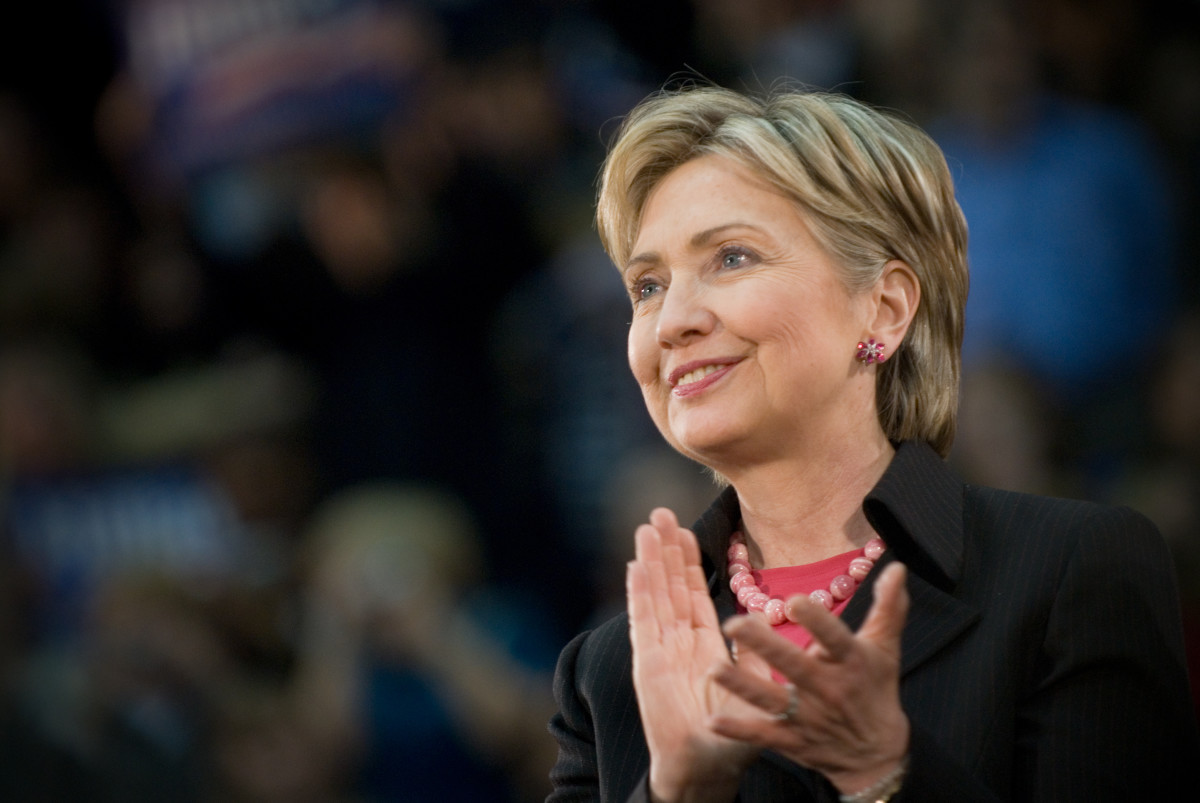 Photo of Hillary Clinton clapping.