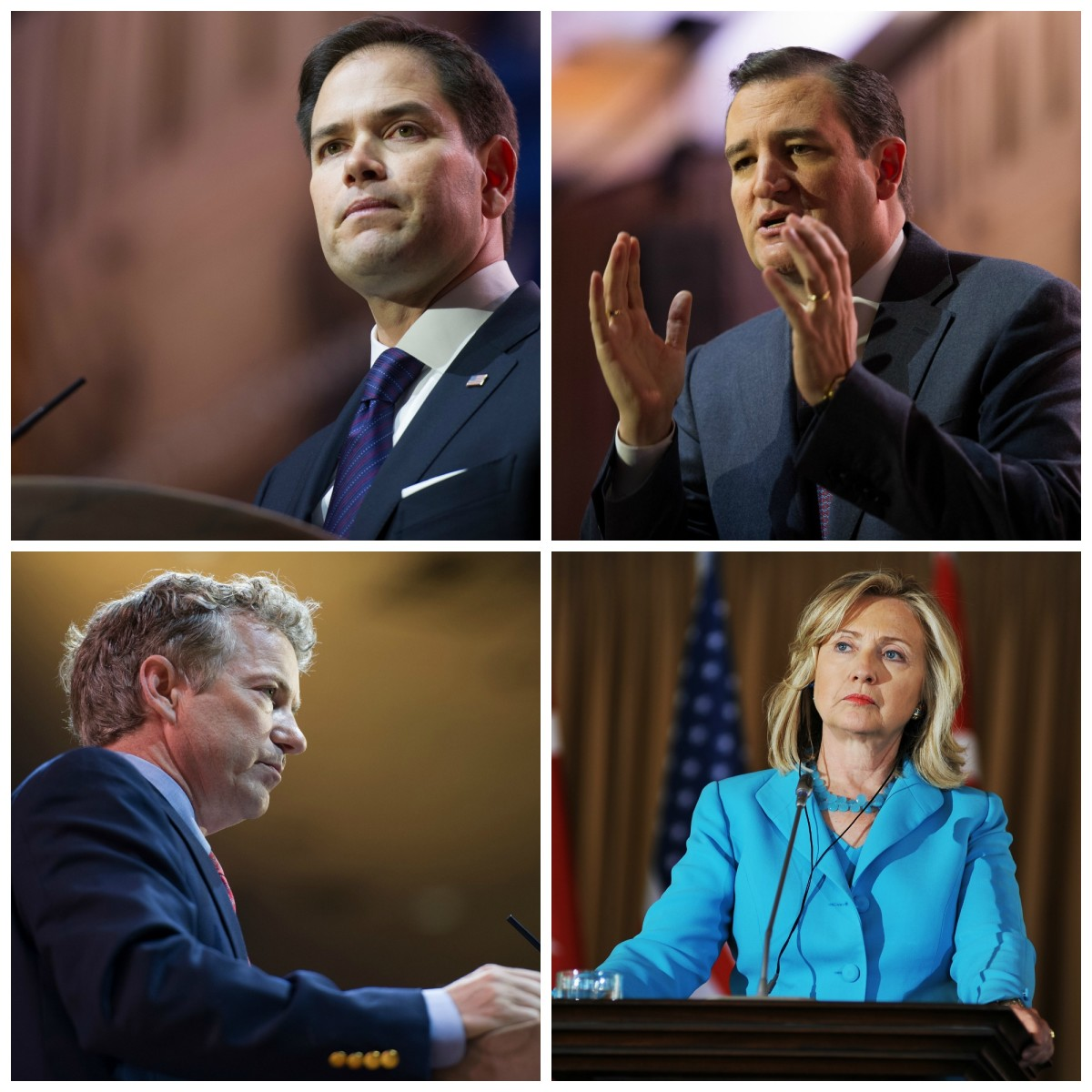 Clockwise, from top left: Marco Rubio, Ted Cruz, Hillary Clinton, and Rand Paul. (Photos: Christopher Halloran/Kisa Kuyruk/Shutterstock/Pacific Standard)
