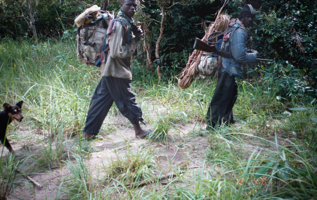 Poachers in Gabon in the early 2000s, captured by a remote video camera. (Photo: Philipp Henschel/Panthera)