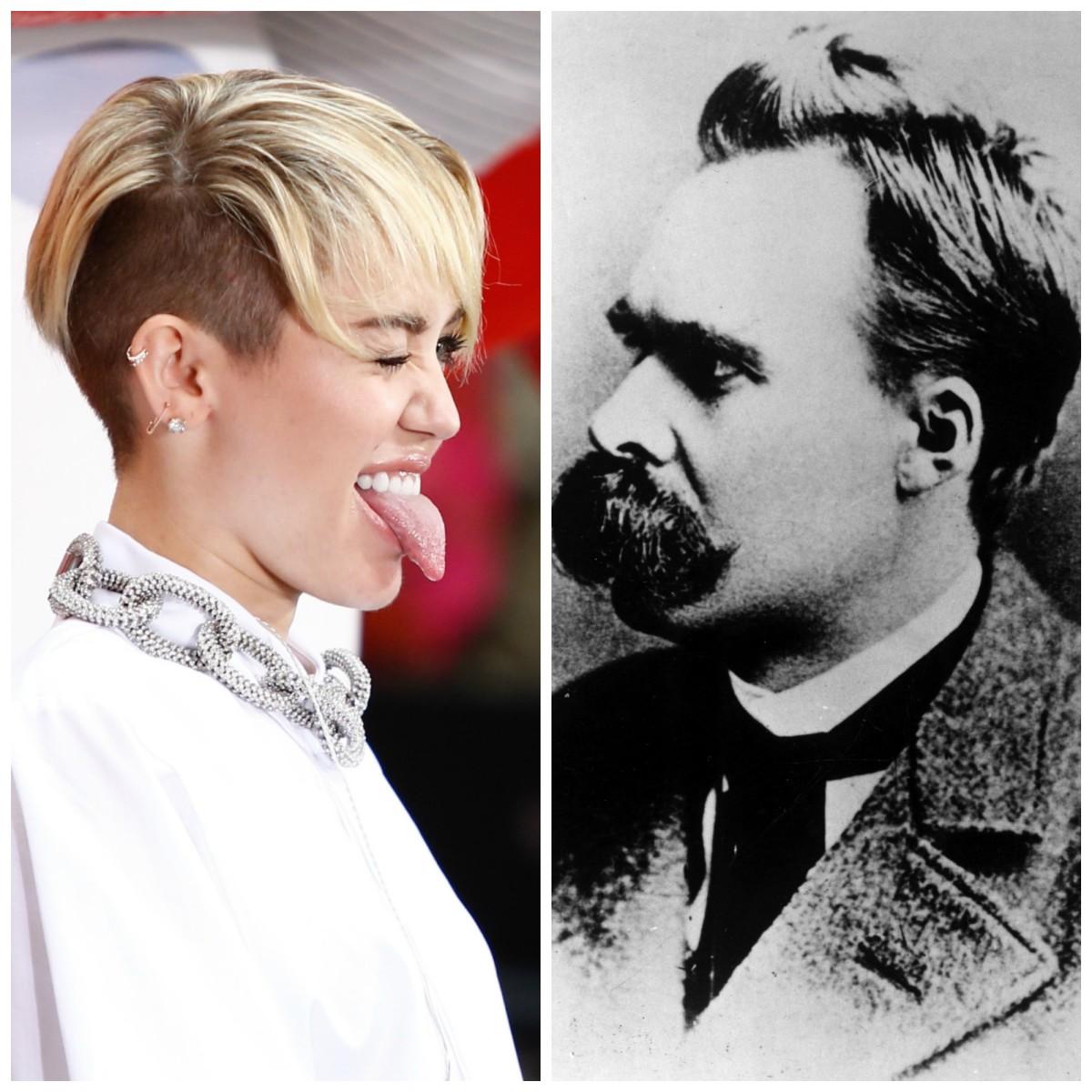 Miley Cyrus, circa 2013; Friedrich Nietzsche, circa 1887. (Photos: Debby Wong/Everett Historical/Shutterstock/Pacific Standard)