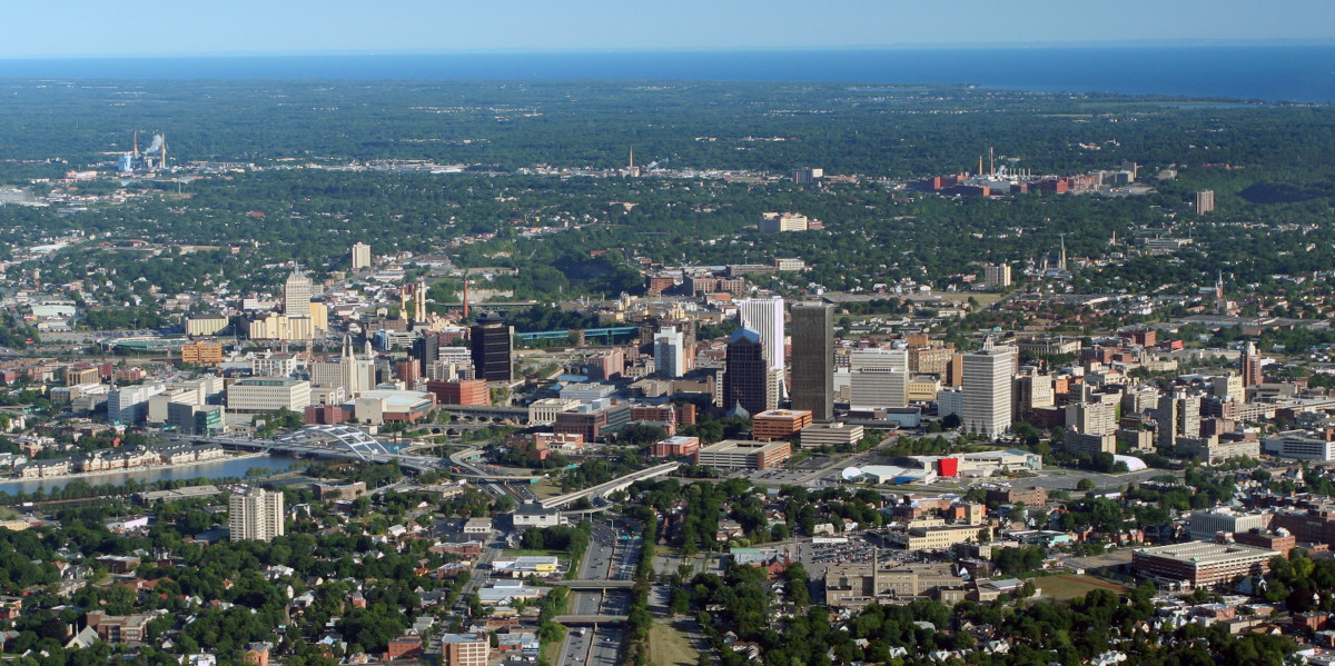 Urban Rochester, New York, as seen from the air. (Photo: Tomkinsc/Wikimedia Commons)