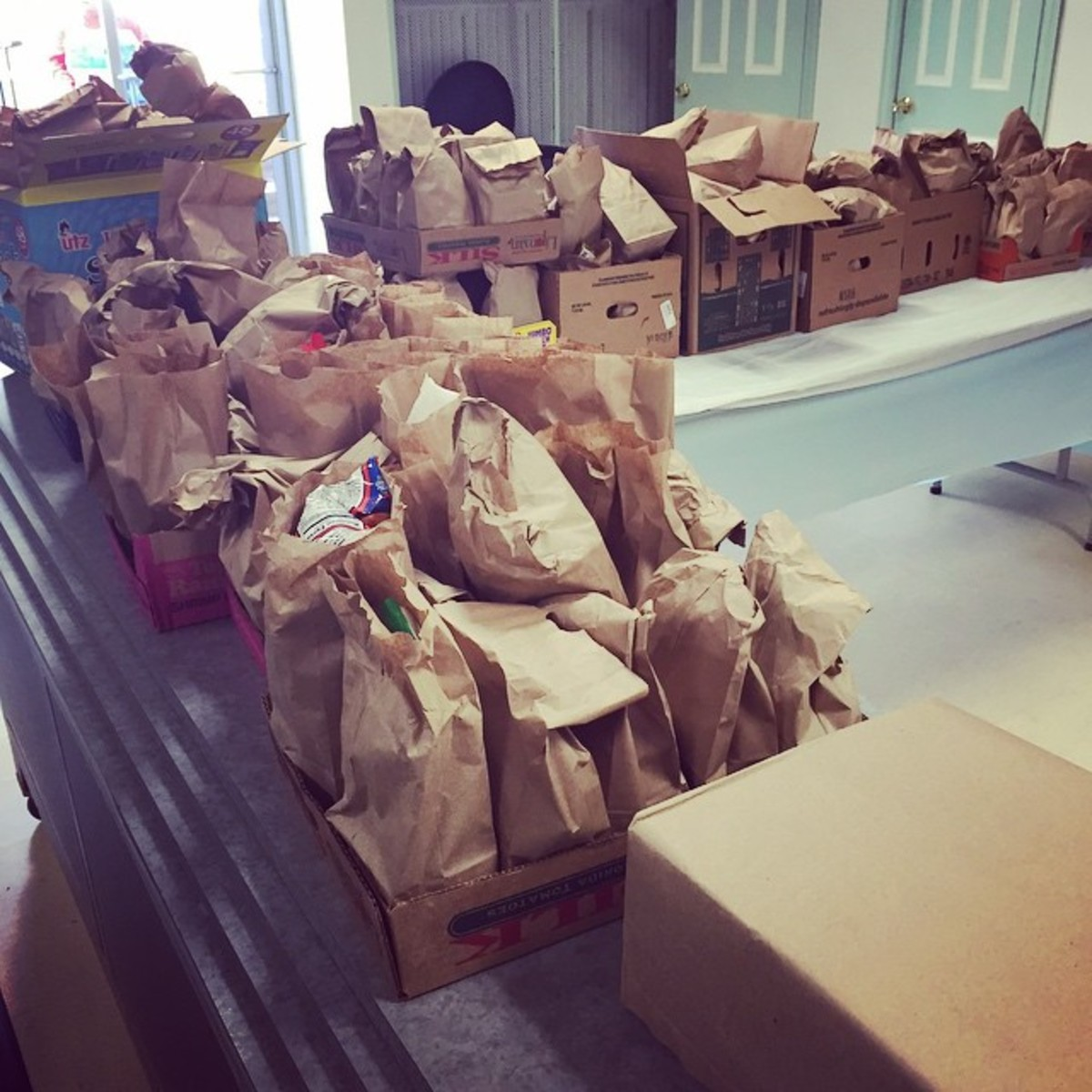 Bagged lunches ready for distribution in Baltimore. (Photo: vinny_ftw/Instagram)