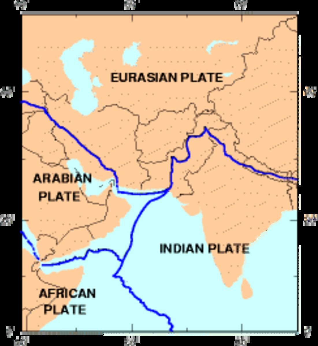 Tectonic plates. (Map: Public Domain)
