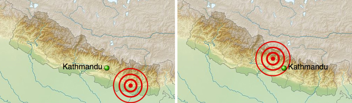 Left: epicenter of the 1934 Nepal-Bihar earthquake; right: epicenter of the 2015 Nepal earthquake.