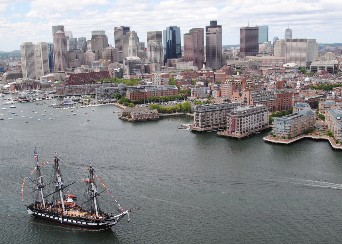 The USS  Constitution sails into Boston Harbor during an underway Battle of  Midway commemoration on June 3, 2011, in Boston, Massachusetts. (Photo: Mass Communication  Specialist 2nd Class Kathryn E. Macdonald/U.S. Navy via Getty Images)