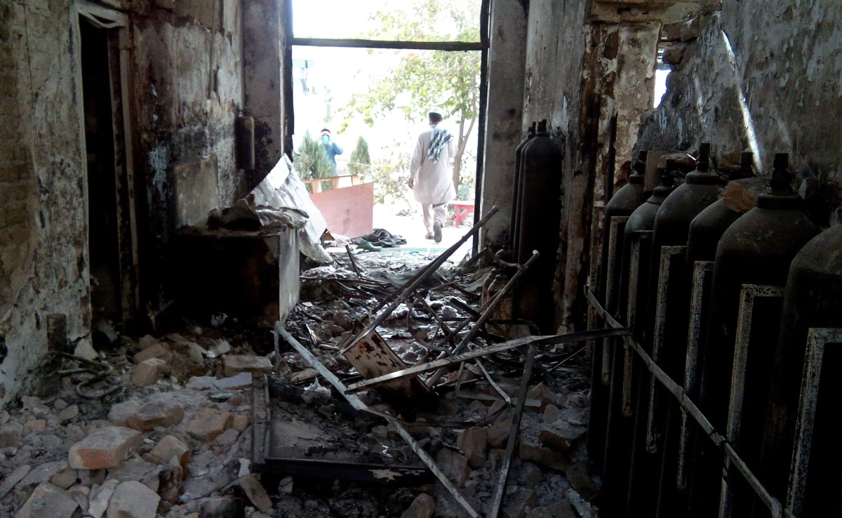 The damaged interior of a hospital, following the airstrike. (Photo: STR/AFP/Getty Images)