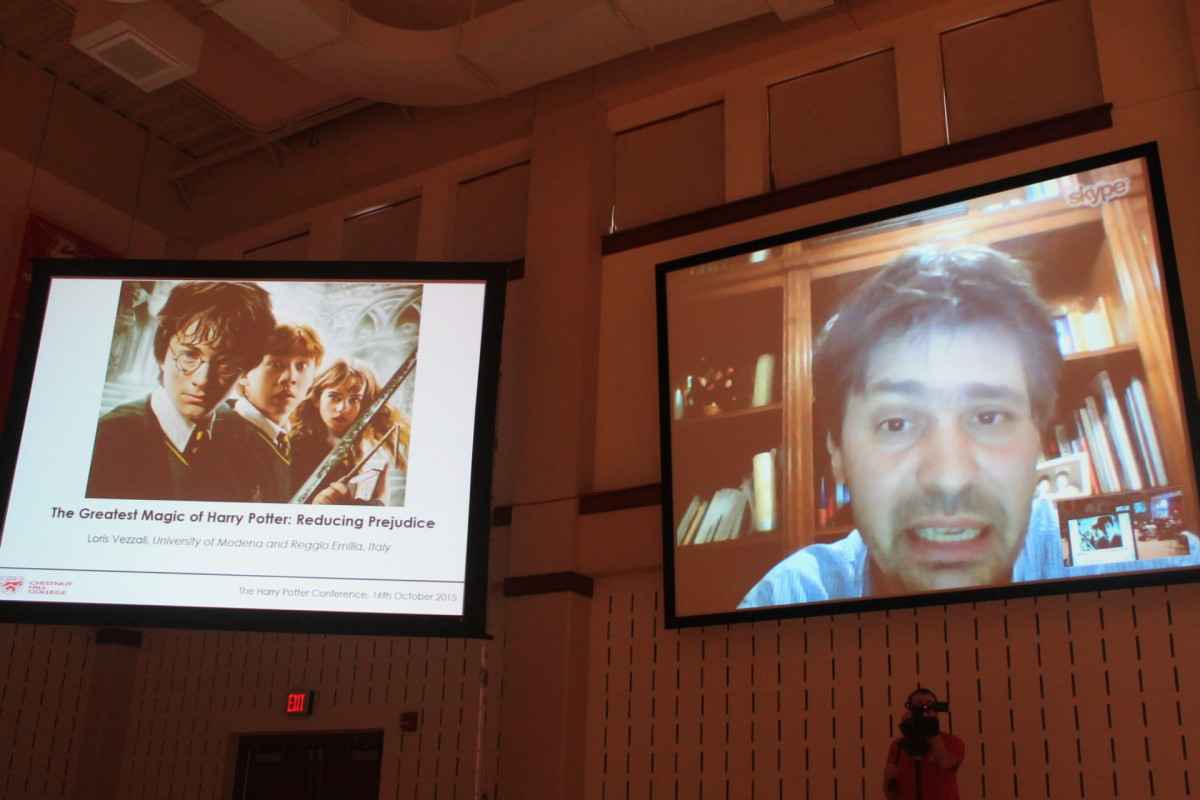 Researcher Loris Vezzali Skyping in to the conference. (Photo: Amy McKeever)