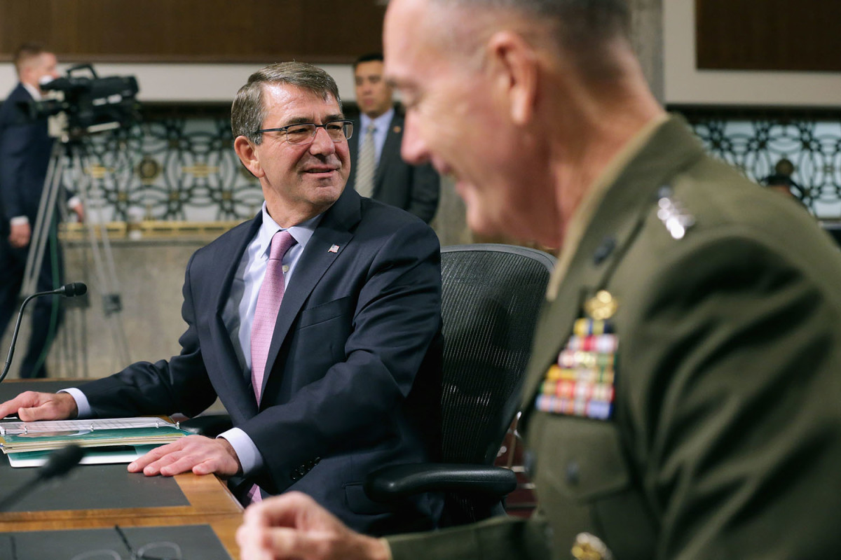 Defense Secretary Ashton Carter and Joint Chiefs of Staff Chairman General Joseph Dunford Jr. prepare to testify before the Senate Armed Services Committee about the U.S. military strategy in the Middle East. (Photo: Chip Somodevilla/Getty Images)