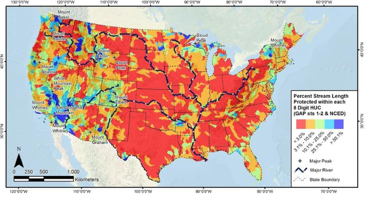Percent of stream length protected within each hydrologic unit code. (Map: Biological Conservation)