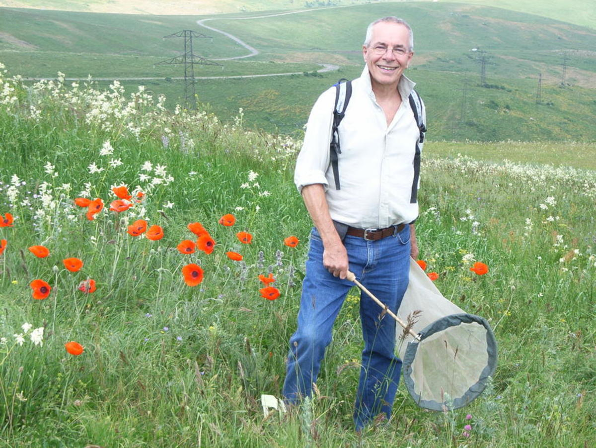 Ole Karsholt, who has been collecting insects for decades, on an expedition in Armenia. (Photo: Anne Kristene Karsholt)