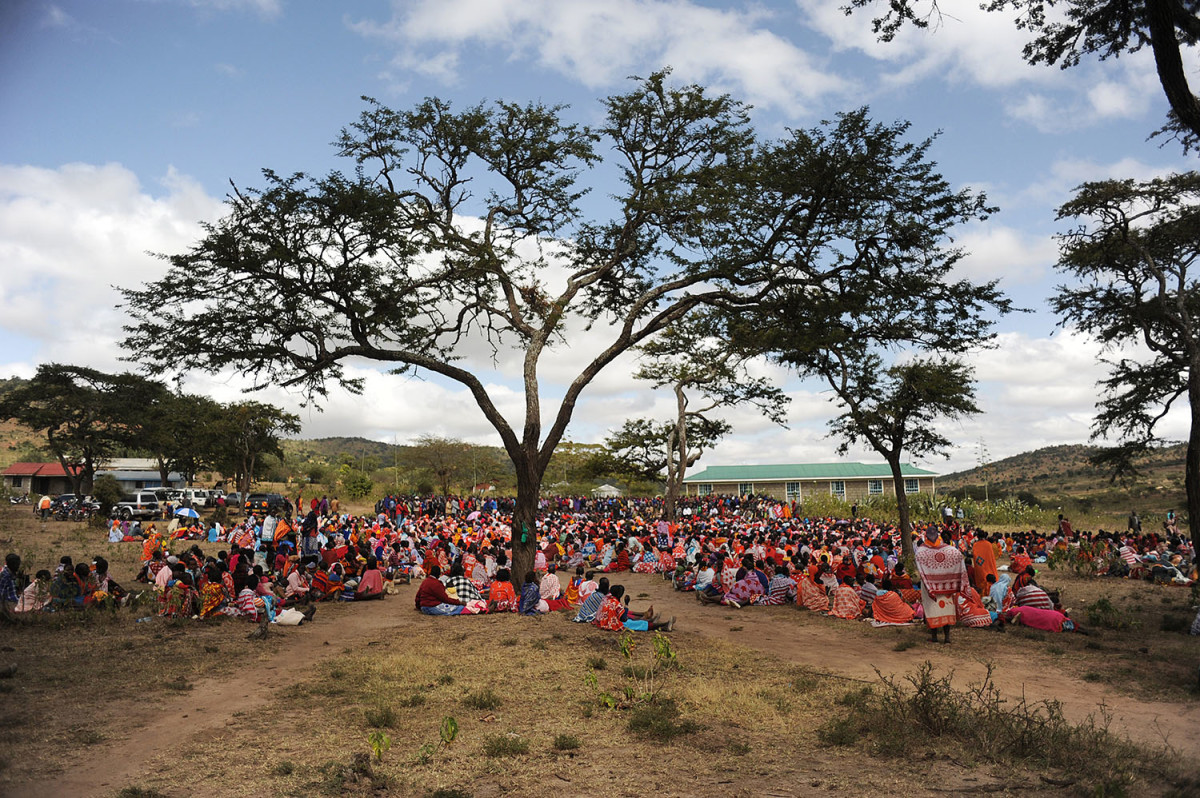 Kenyan Maasai women gather during a meeting dedicated to the practice of female genital cutting in which several participants voiced opposition to a ban currently in place, on June 12, 2014, in Enkorika, Kajiado. (Photo: Simon Maina/AFP/Getty Images)
