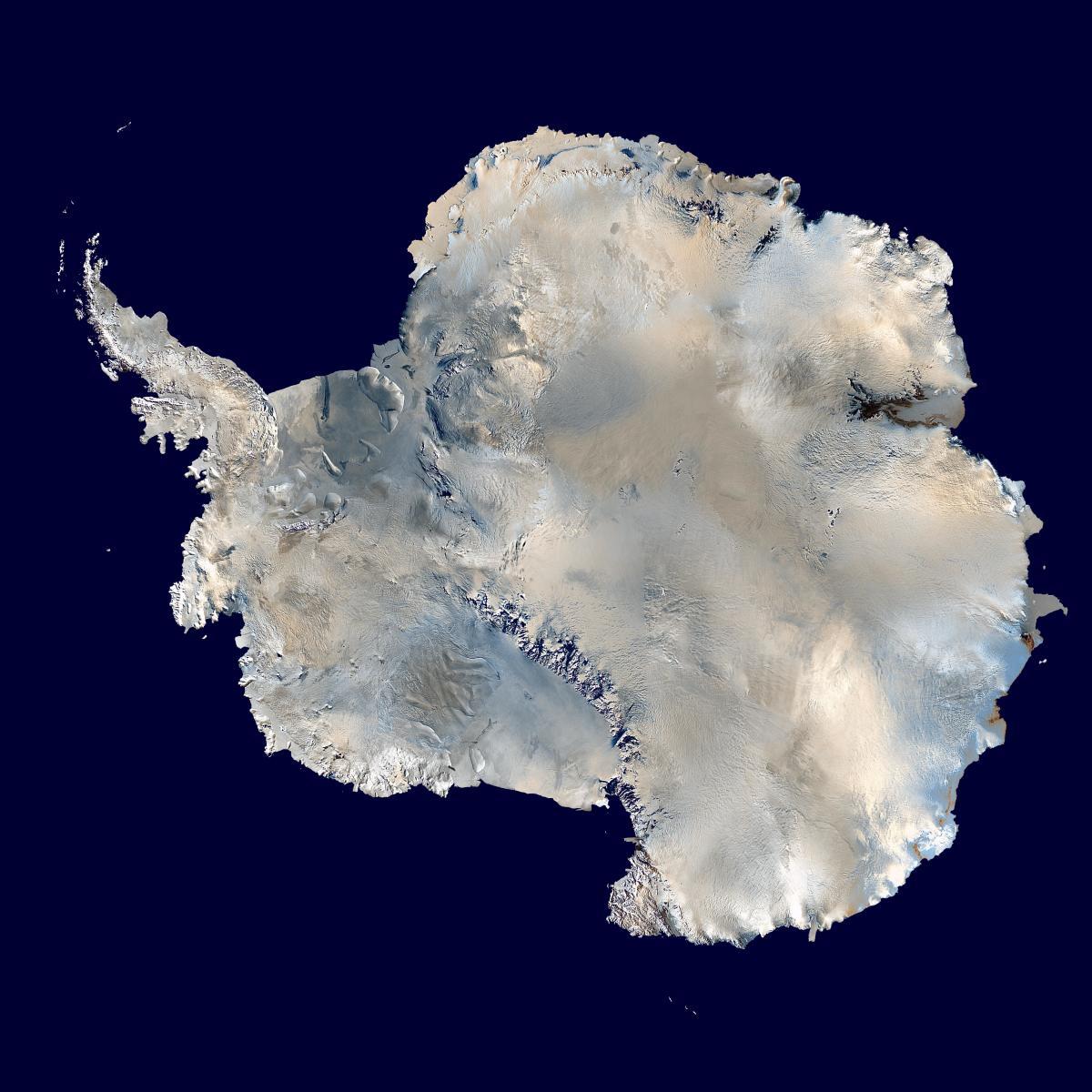 A satellite composite image of Antarctica. (Photo: Wikimedia Commons)