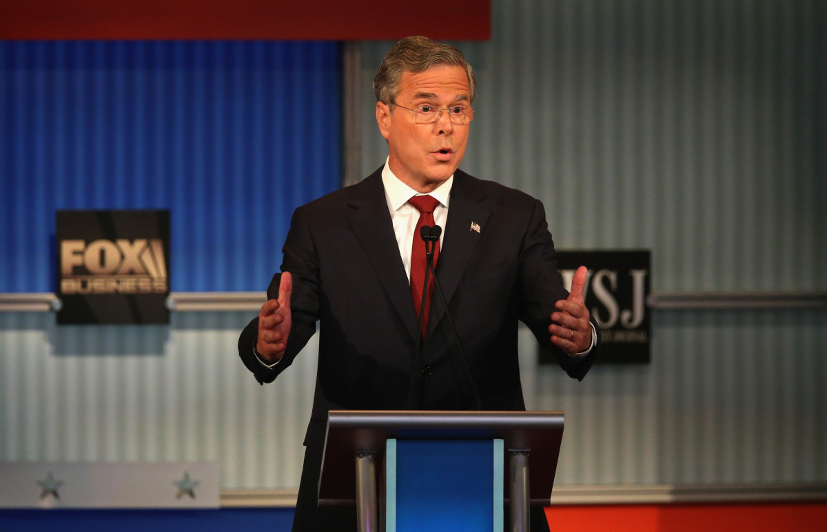 Jeb Bush speaks during the Republican Presidential Debate. (Photo: Scott Olson/Getty Images)
