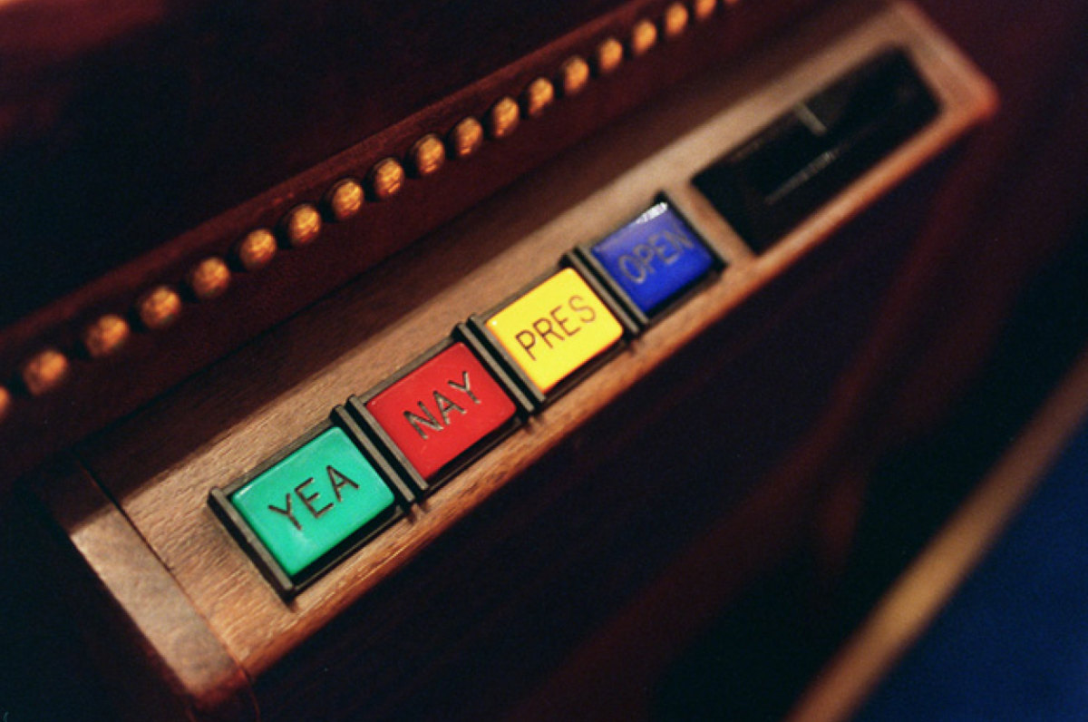 One of the electronic voting devices used by members to vote on the House floor. (Photo: Scott J. Ferrell/Congressional Quarterly/Getty Images)