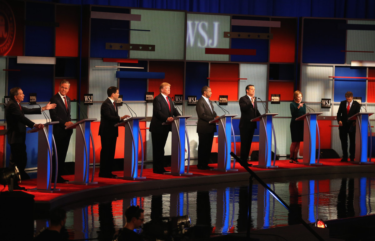 Presidential candidates (from left) John Kasich, Jeb Bush. Marco Rubio, Donald Trump, Ben Carson, Ted Cruz, Carly Fiorina, and Rand Paul take part in the Republican Presidential Debate on November 10, 2015, in Milwaukee, Wisconsin. (Photo: Scott Olson/Getty Images)
