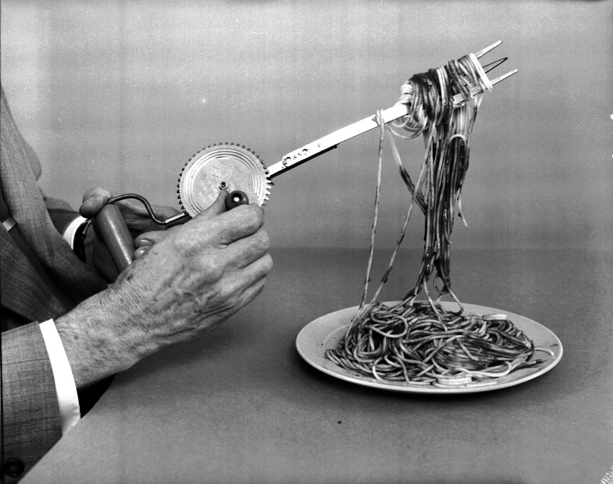 A wind up spaghetti fork devised by amateur  American inventor Russell E. Oakes.  (Photo: Evans/Three Lions/Getty Images)