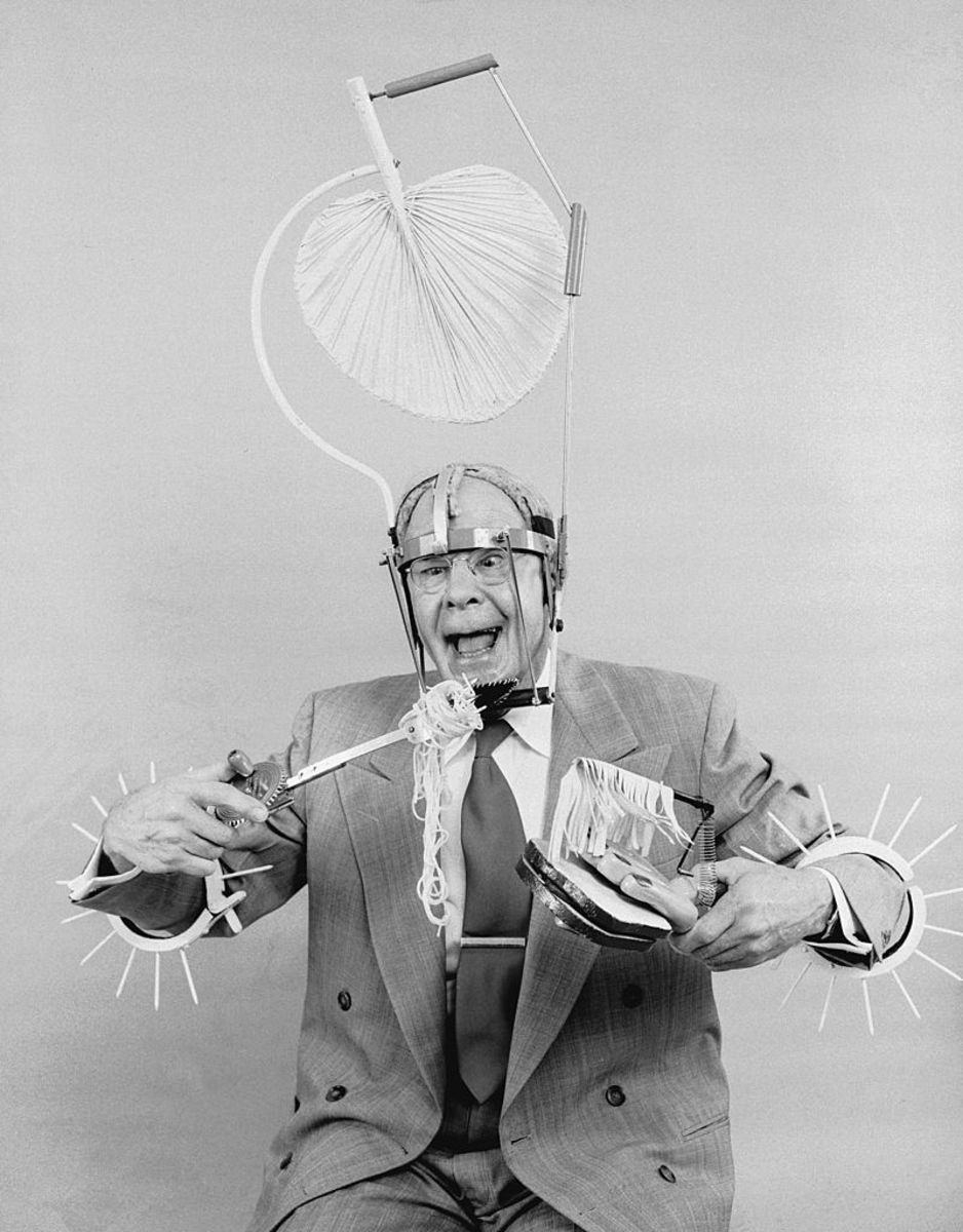 Russell E. Oakes, an amateur American inventor wearing his  problem solving inventions. (Photo: Evans/Three Lions/Getty Images)