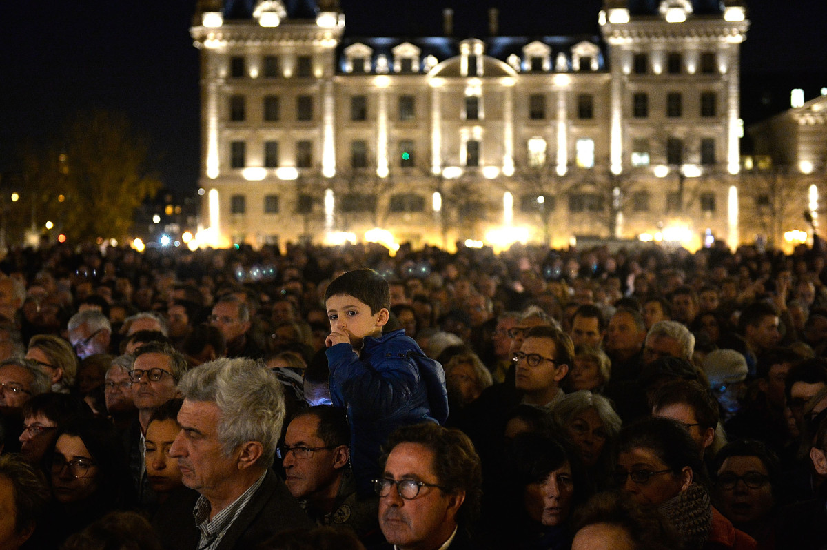 People gather outside Notre Dame Cathedral ahead of a ceremony for the victims of Friday's terrorist attacks in Paris, France. (Photo: Pascal Le Segretain/Getty Images)