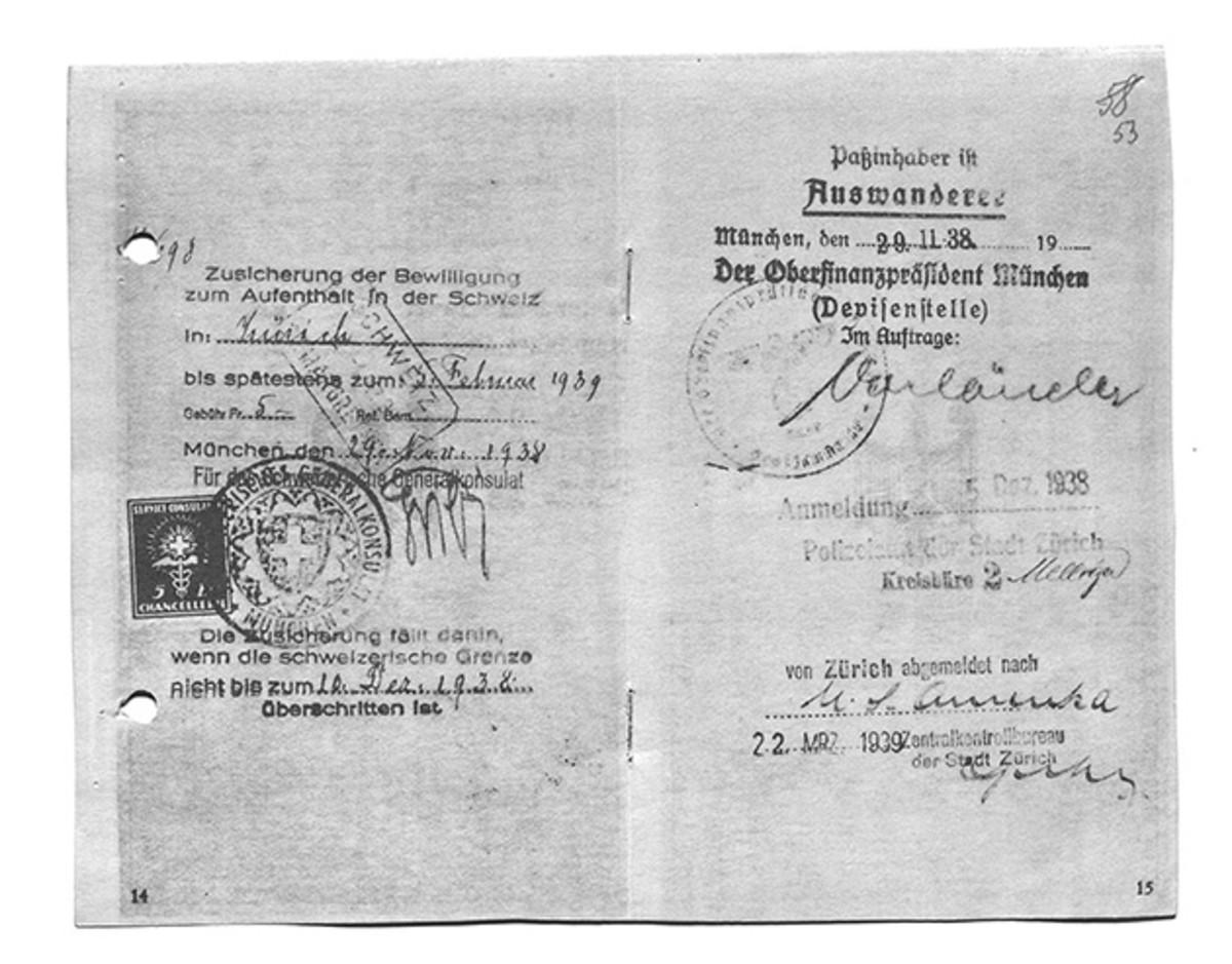 Jakob Engelberg's Swiss visa, dated November 24, 1938. (Photo: Engelberg Family)