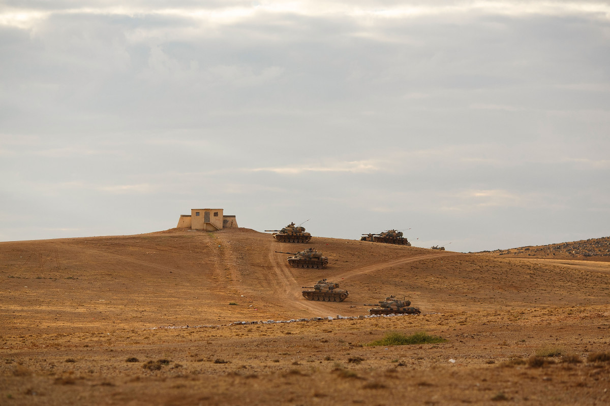 Tanks from the Turkish Armed Forces are dispatched to the Turkish/Syrian border as clashes intensified with ISIS militants on September 29, 2014, in the Suruc district of Sanliurfa in the southeastern province of Turkey. (Photo: Carsten Koall/Getty Images)