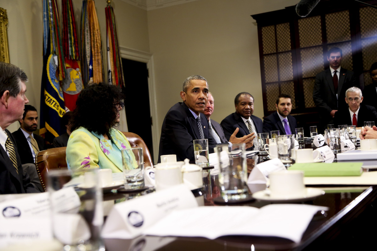 President Barack Obama speaks to the press after hosting a roundtable with CEOs about climate change on October 19, 2015, in Washington, D.C. (Photo: Aude Guerrucci-Pool/Getty Images)