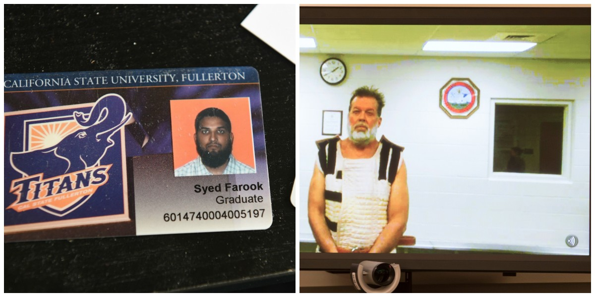 From left: The California State University–Fullerton student identification of San Bernardino mass murder suspect Syed Farook sits on a desk inside Farook's home in Redlands, California. (Photo: Robyn Beck/AFP/Getty Images); Colorado Springs shooting suspect Robert Lewis Dear appears before Judge Gilbert Martinez via video feed. (Photo: Mark Reis-Pool/Getty Images)